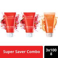 Buy 2 Get 1 Free Lakme Blush & Glow Strawberry and Peach Facewash Combo (100gm)