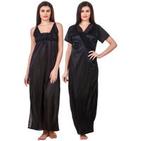Fasense Women Satin Black Nightwear 2 Pc Set of Nighty & Wrap