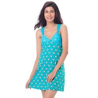 PrettySecrets Cotton & Lace Racerback Nightdress - Blue, Multi Colour / Print, Animal