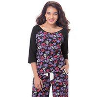 PrettySecrets Cotton Raglan Sleeved Top - Black, Multi Colour / Print