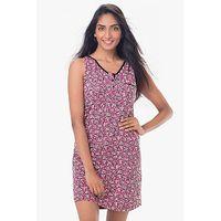 PrettySecrets Cotton Sleeveless Sleepshirt - Pink, Multi Colour / Print