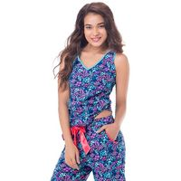 PrettySecrets Cotton Sleeveless V Neck Tank Top - Blue, Multi Colour / Print, Floral