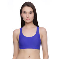 Rosaline Clean Finish Racerback Bralette with Removable Padding- Royal Blue