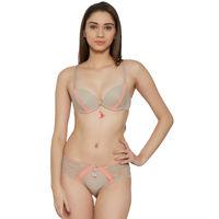 S.O.I.E Peach Contrast Pattern Sexy Push Up Bra And Panty Set - Nude