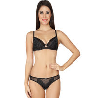 S.O.I.E Black Decadent Centre-Front Lace Bustier And Panty Set - Black