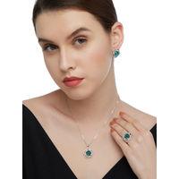 Shaze Silver Colored Blue Flower Jewellery Set