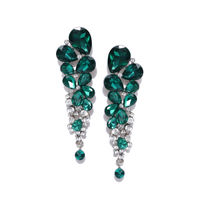 Jewels Galaxy Green Oxidized Silver-Plated Handcrafted Stone-Studded Drop Earrings