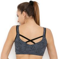 Tuna London Grey Color Scoop Neck Polycotton Sports Bra For Women