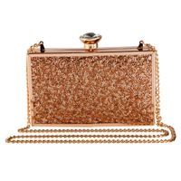 Vdesi Gold Sequins Work Box Clutch