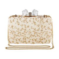 Vdesi White Sequins Box Clutch