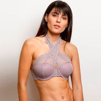 Zivame Moroccan Lace Halter Neck Wired Bralette - Purple