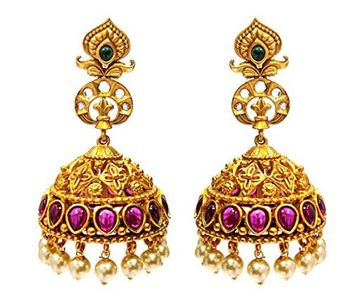 Peora Gold Plated Matte Finish Ruby Stone Jhumki Jhumka Earrings Indian  Temple Jewellery For Women