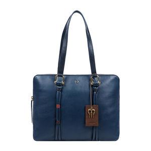 Hidesign Moksha 02 Blue Leather Women S Laptop Bag