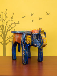 Prime Golden Peacock Designer Wooden Elephant Stool Handicraft Onthecornerstone Fun Painted Chair Ideas Images Onthecornerstoneorg
