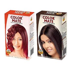 Color Mate Dark Brown & Copper Red Hair Color Cream
