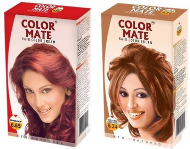 Color Mate Burgundy & Golden Copper Hair Color Cream