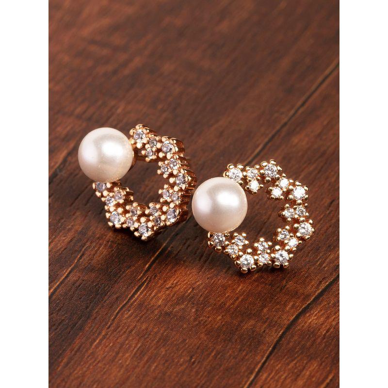 Zaveri Pearls Gold Tone Floral Cubic Zirconia   Pearl Brass Stud Earring   ZPFK9456