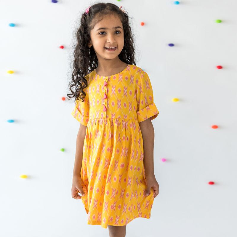 Campana Geometric Midi Dress - Yellow (3-4 Years)