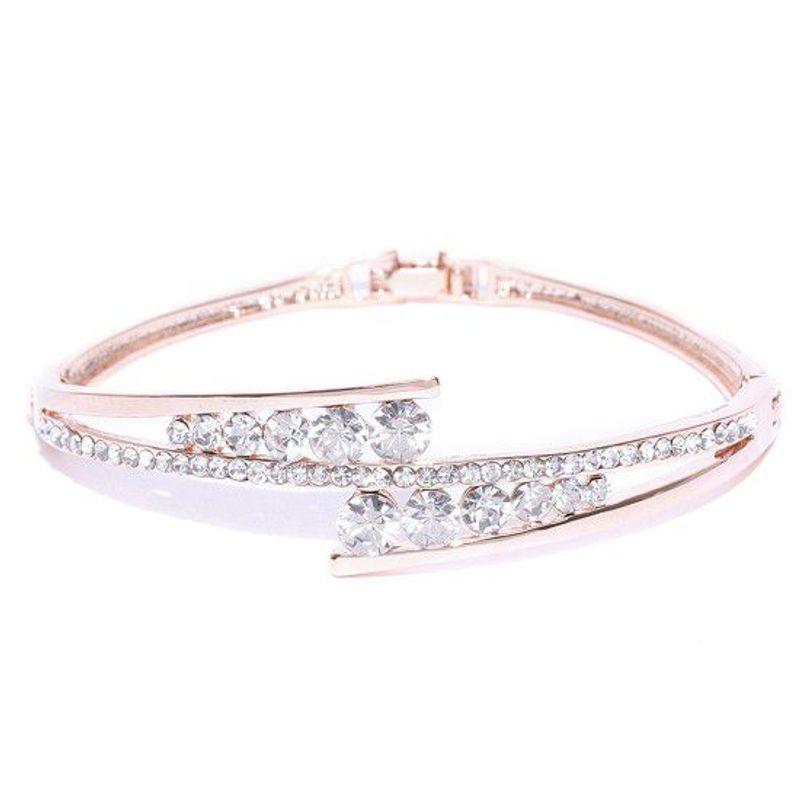 Jewels Galaxy Luxuria Elegant AAA CZ Rose Gold Plated Brilliant Charm Bracelet