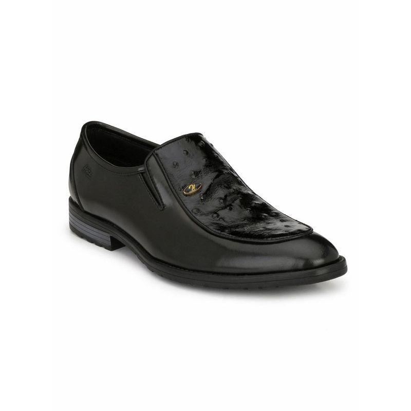 Hitz Solid Black Leather Shoes - Uk 6