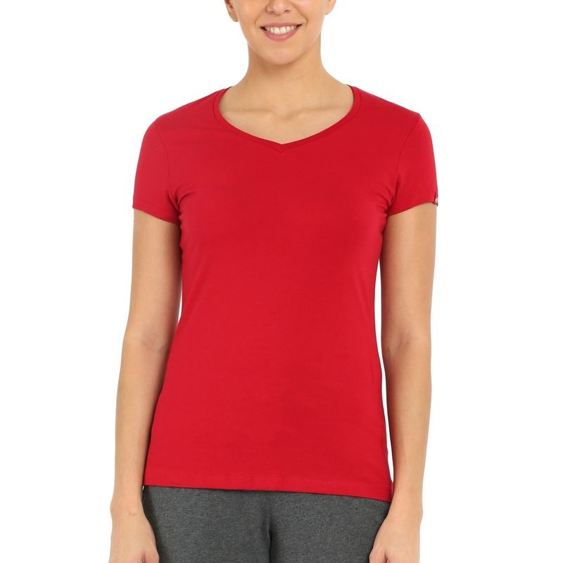 Jockey Jester Red V-neck Tee Style Number-1359 - (S)