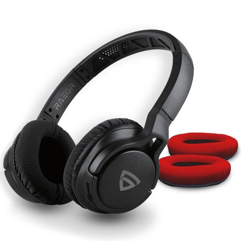 RAEGR Airbeats 500 Wireless Headphones Bluetooth 5.0/3.5mm Aux in Connectivity Headphones black/red