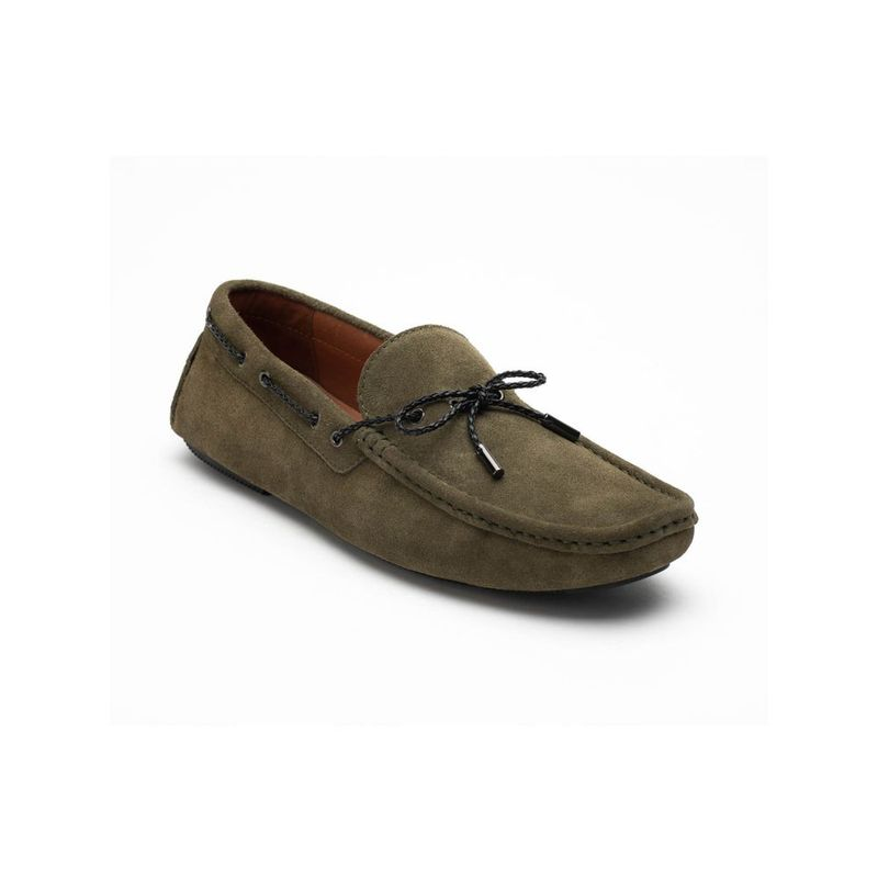 Heel & Buckle London Olive Solid Casual Loafers - Euro 41