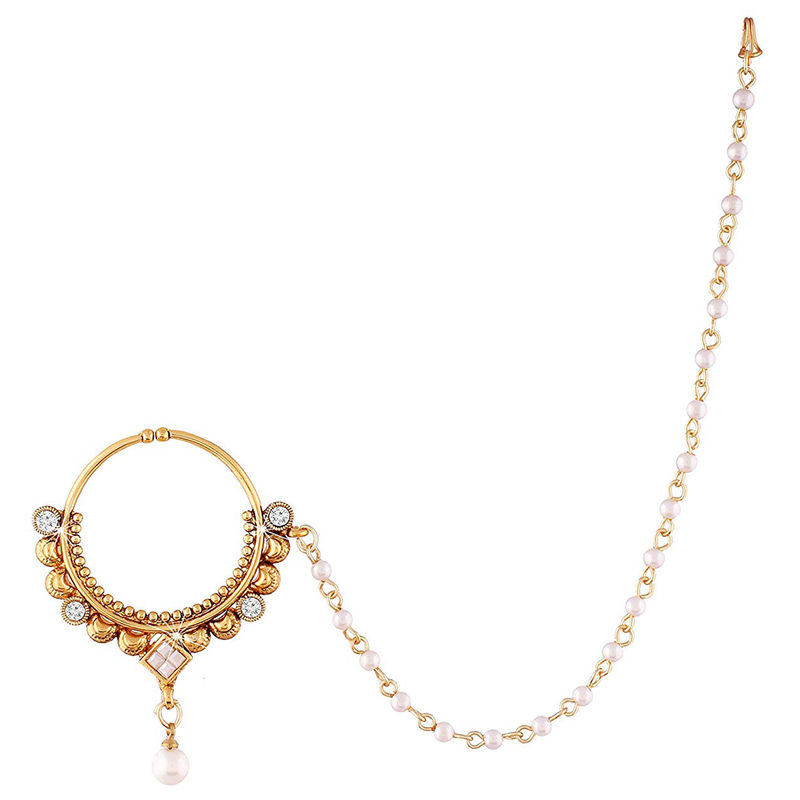 Peora 18k Gold Plated Pearl Ad Nose Ring Nath With Pearl Chain For