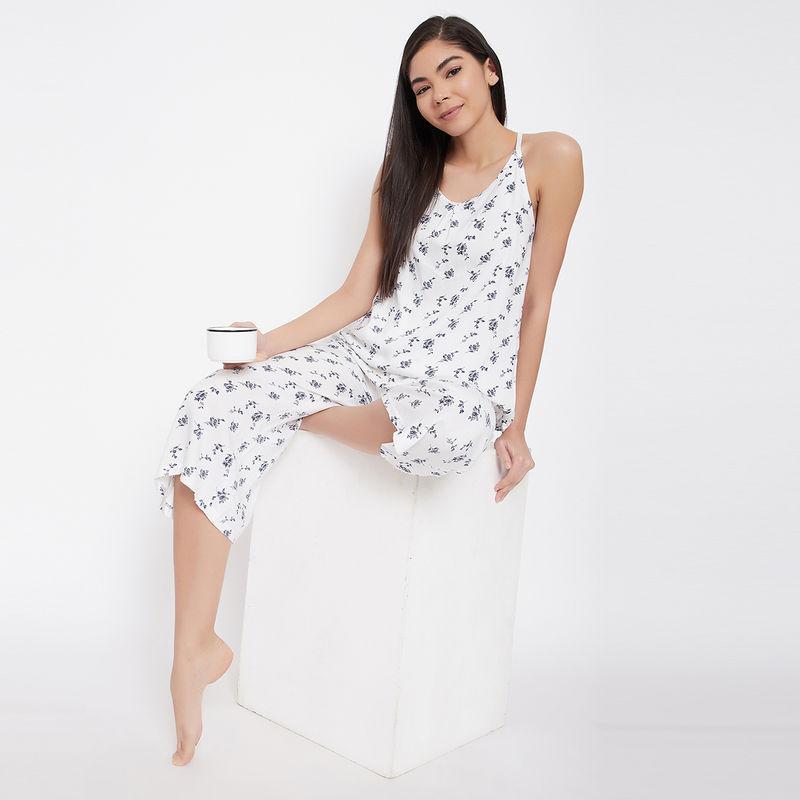Clovia Pretty Floral Cami Top & Culottes - Rayon - White (S)