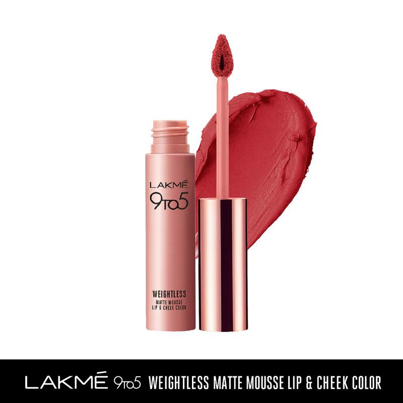 Lakme 9 to 5 Weightless Matte Mousse Lip & Cheek Color - Crimson Silk