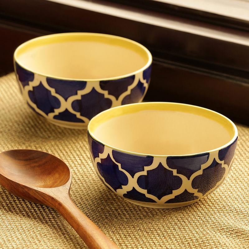 ExclusiveLane 'Two Mediterranean Bowls' Handpainted Serving Bowls In Ceramic  Set Of 2