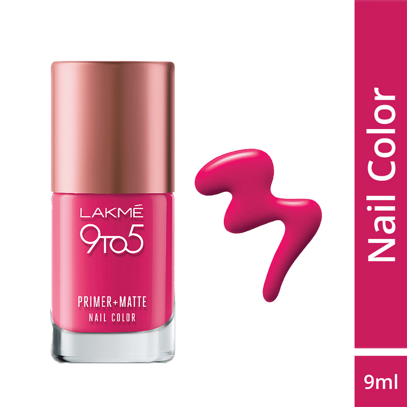 Lakme 9 To 5 Primer Matte Nail Color Magenta