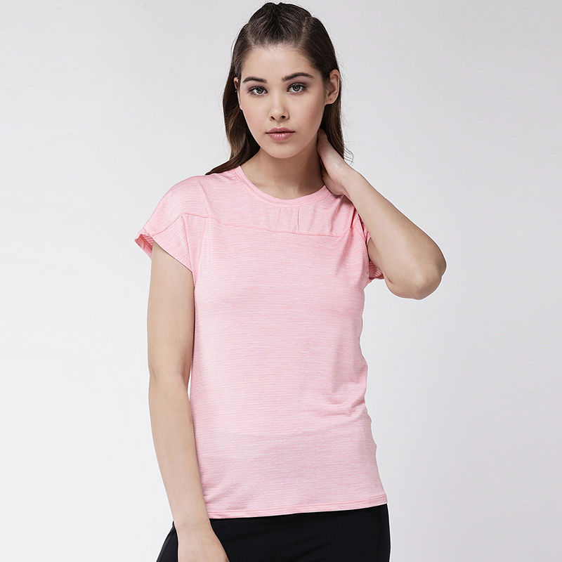 Fitkin Women Self Design Striped Short Sleeve Gym Top   Pink