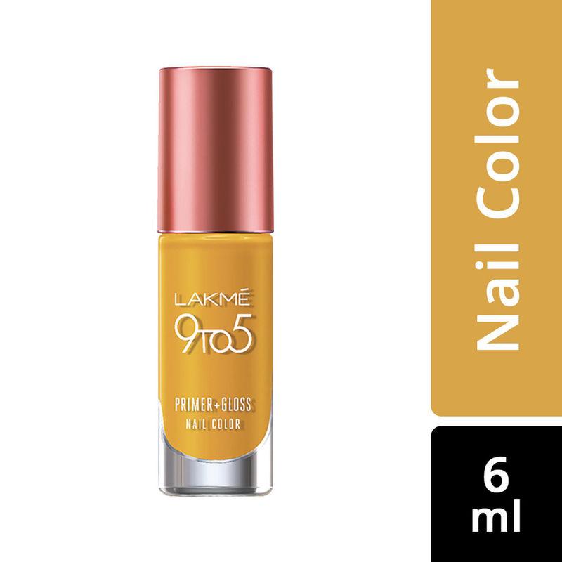 Lakme 9 to 5 Primer + Gloss Nail Color - Mustard Master