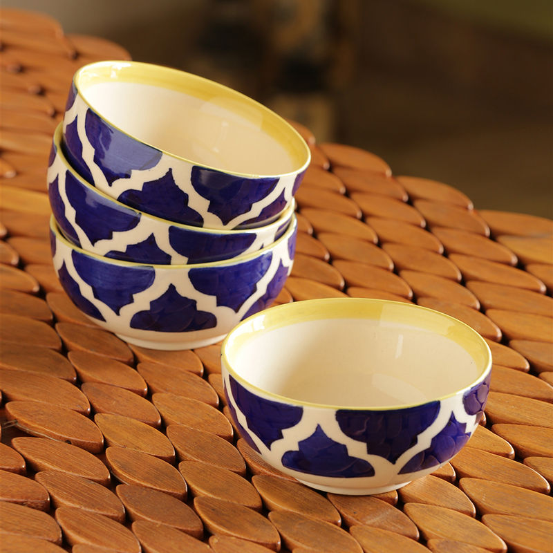 ExclusiveLane 'Four Mediterranean Bowls' Handpainted Serving Bowls In Ceramic  Set Of 4