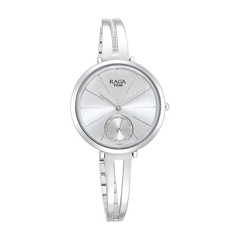 Titan Raga Viva Round Analog 2647SM01 Steel Dial Women s Watch