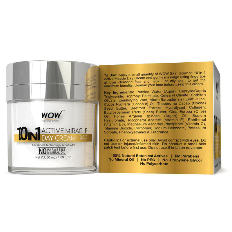 WOW Skin Science 10-in-1 Active Miracle Day Cream SPF 15 PA++(50ml)