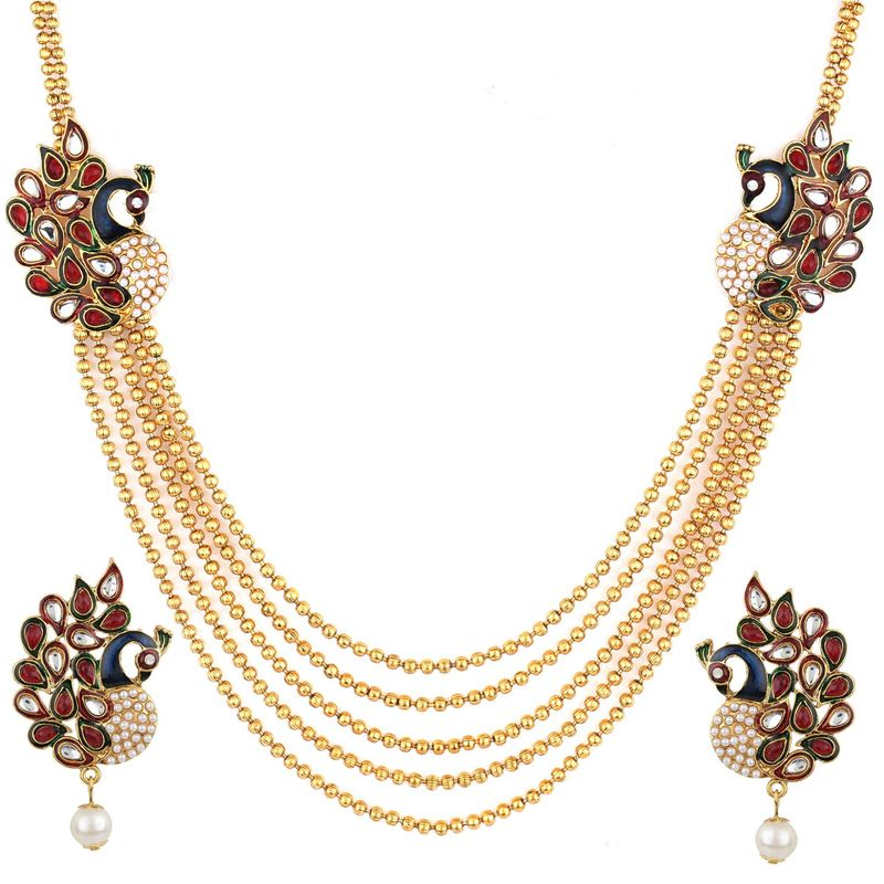 eaf0edb94 Anika's Creation Kundan Studded Peacock Design Inspired Necklace Set For  Woman