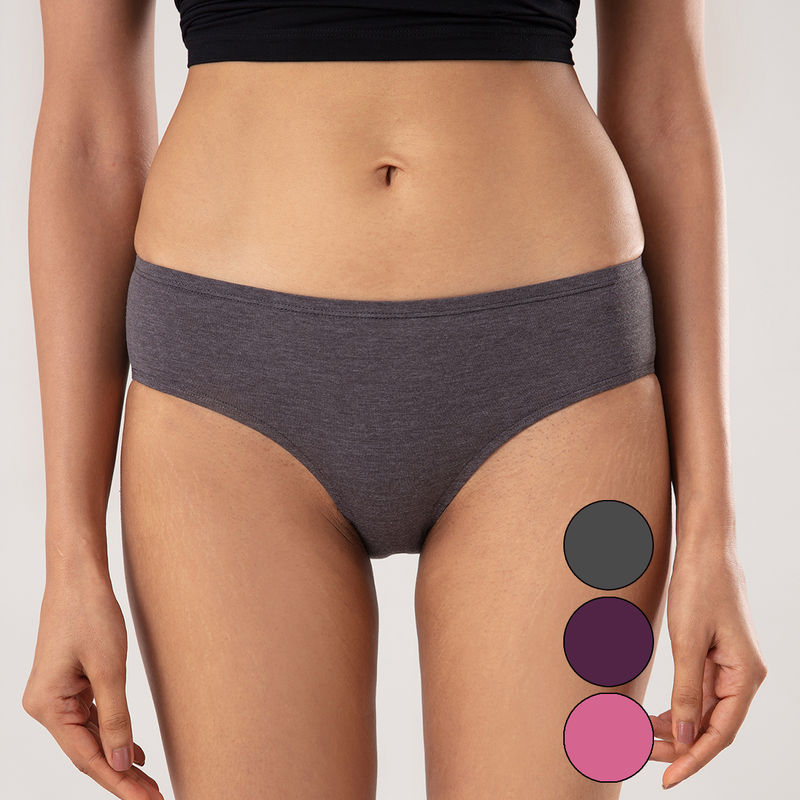 Nykd By Nykaa Pack of 3 No Visible Elastic Mid Rise Hipster With Medium Rear Coverage - NYP119 (S)