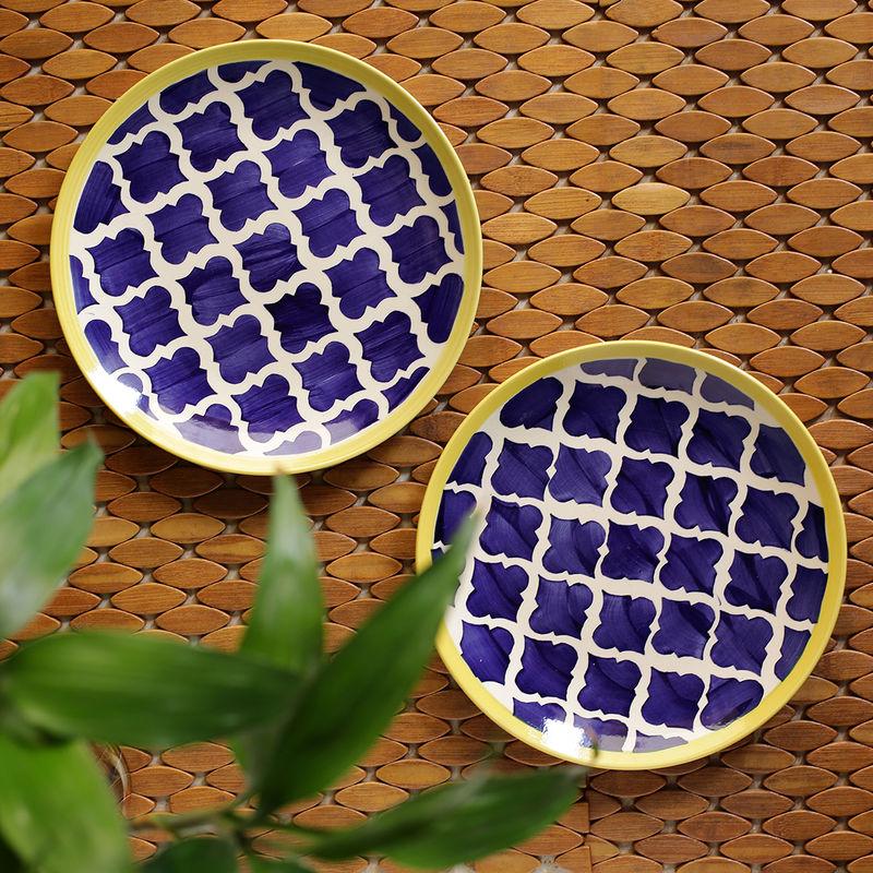 ExclusiveLane 'Moroccan Plate Pair' Handpainted Plates In Ceramic  Set Of 2