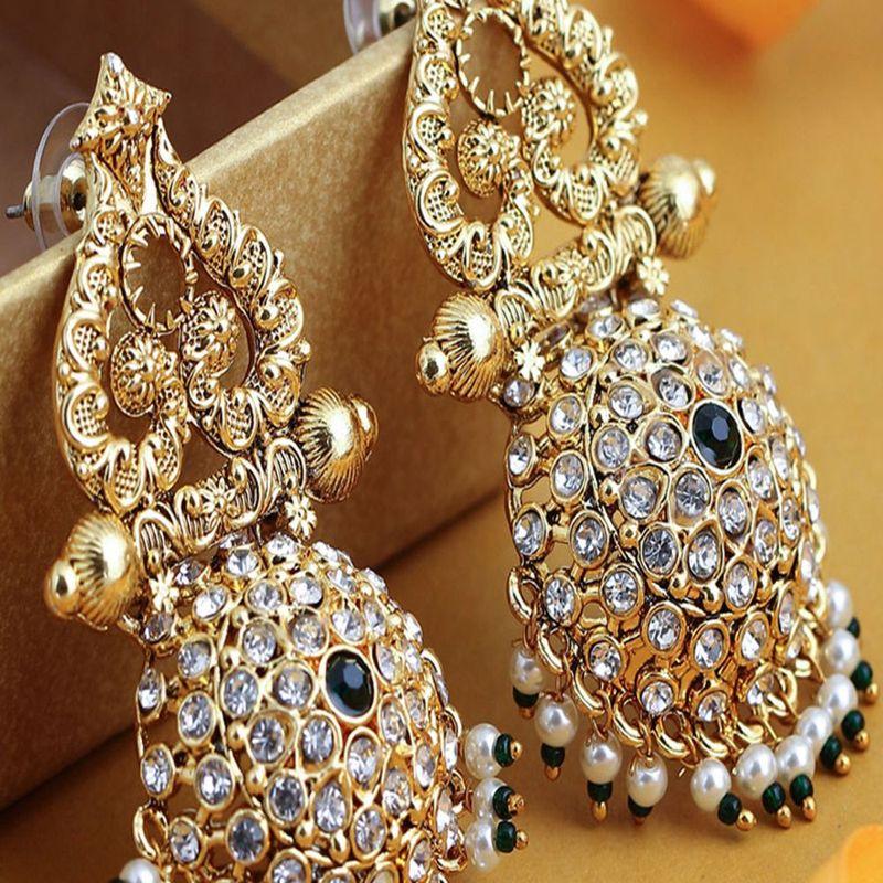 Sukkhi Stunning Gold Plated Austrian Diamond Dangle Earring For Women  E83465