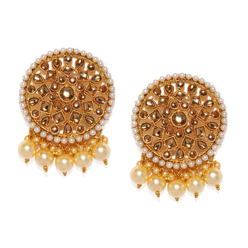 Zaveri Pearls Gold Tone Stones   Dangling Pearl Drops Earring   ZPFK8823