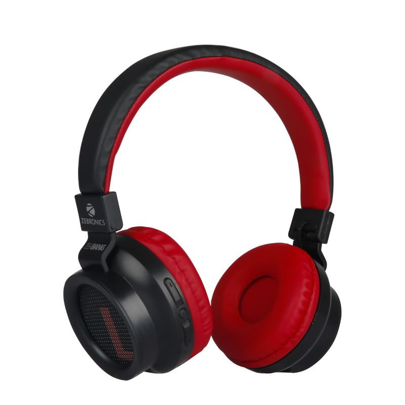 Zebronics Zeb Bang Wireless Bluetooth Headphone 16Hrs* Playback time Supports Voice Assistant  Red