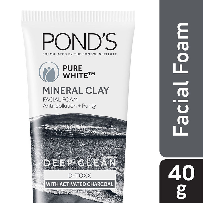 Ponds Pure Detox Mineral Clay Activated Charcoal Oil Free Glow & Face Wash