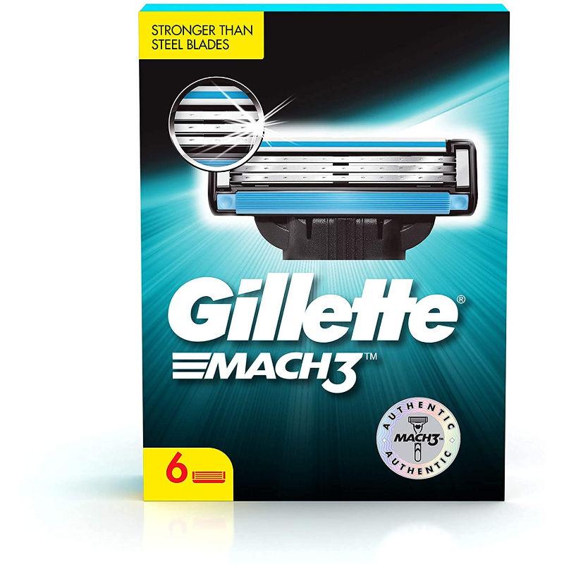 Gillette Mach 3 Shaving Blades  Pack Of 6 Cartridges