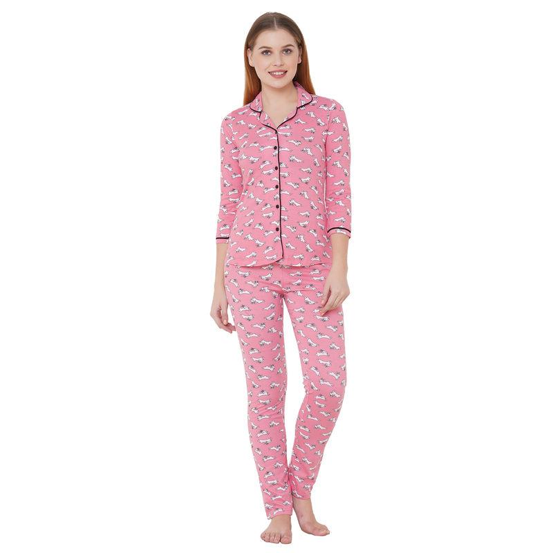 Sweet Dreams Women's Animal Print 3/4th Sleeve Front Open Cotton Rich Top   Pyjama Set   Pink