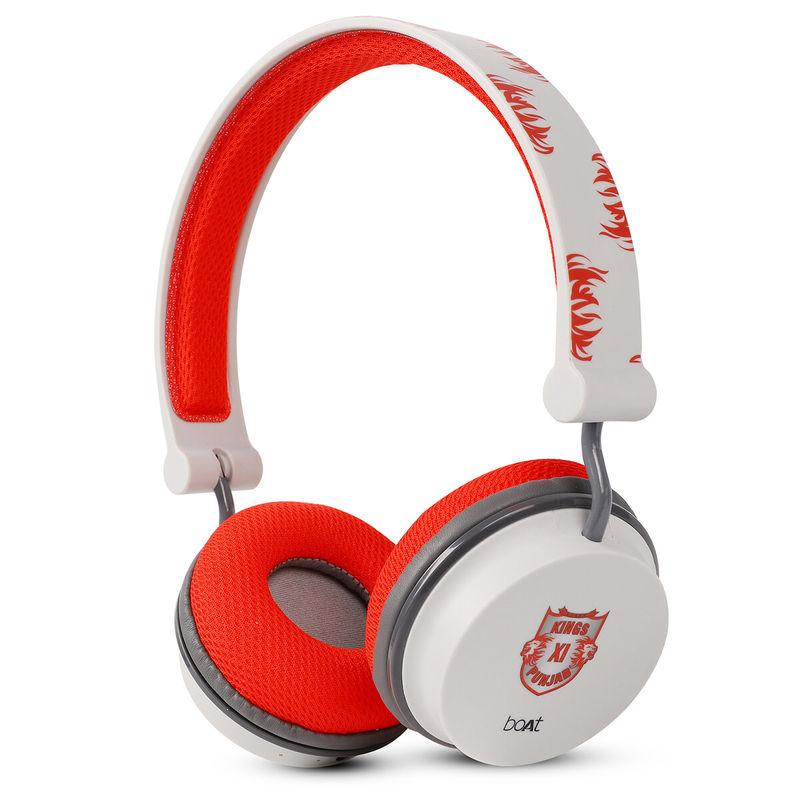 boAt Rockerz 400 Kings XI Punjab Edition Bluetooth Wireless Headphone With Extra Bass  Red