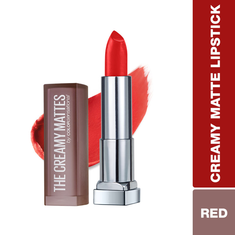 646597410 Maybelline New York Color Sensational Creamy Matte Lipstick - 639 Big Apple  Red