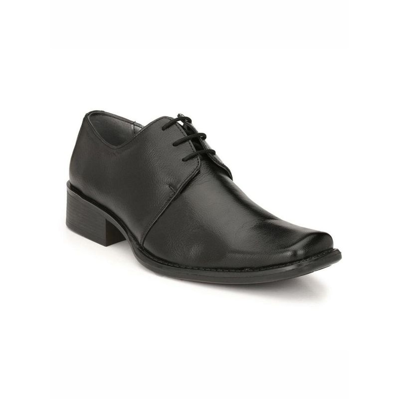 Hitz Solid Black Formal Leather Shoes - Uk 8