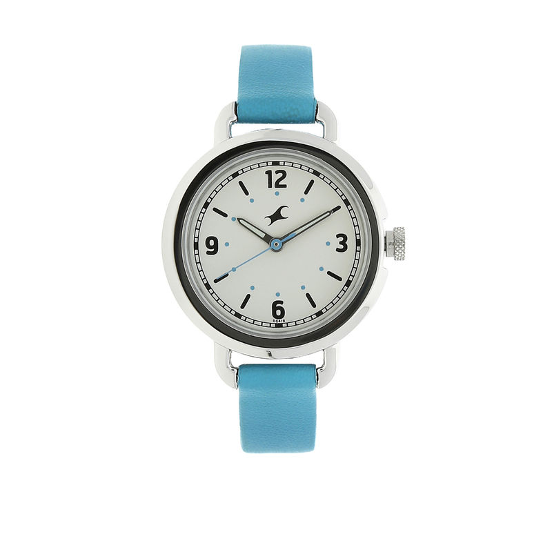 Fastrack Bare Basics White Dial Leather Strap Watch